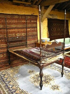 Antique Victorian Anglo Indian Colonial Raj Single Four Poster Day Opium Bed