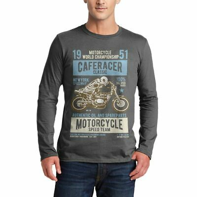 A629C Mens LS T-Shirt Caferacer Motorcycles Classic Race Speed Born To Race Cust
