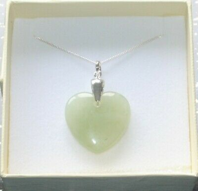 Large New Jade Gemstone Heart Sterling Silver Pendant Necklace in Gift Box