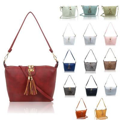 Women's Lightweight Tassel Charm Faux Leather Bucket Handbag Shoulder Tote Bag