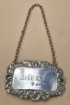 Lovely Solid Silver Sherry Decanter Label, London 1974