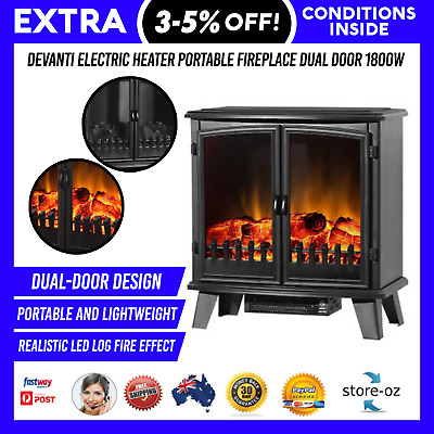 1800w Electric Fireplace Heater Portable Wood Fire Log Flame Effect Dual Door