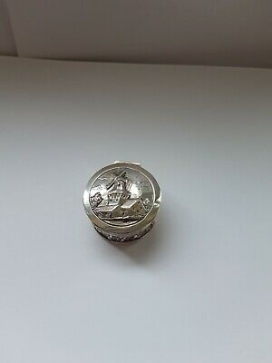 Small Silver Dutch Early 20th Century Circular Box And Lid