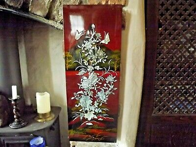 Vintage Oriental Red Lacquered Wood Panel with Mother Of Pearl Inlay