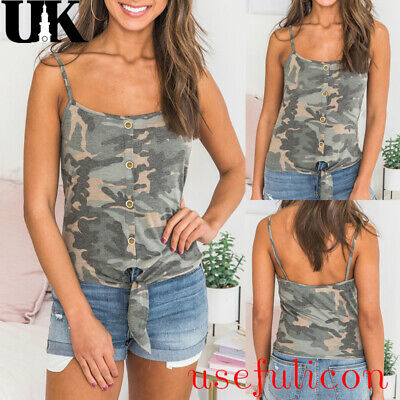 Women Ladies Camouflage Strappy Cami Basic Top Gym Sports Summer Holiday Vest UK