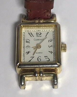 Vintage Ladies CARRIAGE Gold Tone Watch With a Worn Red LEATHER Band