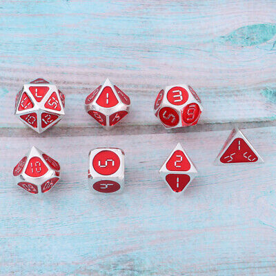 Metal Multi-Sided Dice D4 D6 D8 D10 D12 D20 for DND MTG RPG Roleplaying -D