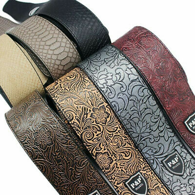 Acoustic Bass Guitar Belt Crocodile Snake Skin Embossed PU leather Strap WidenOQ