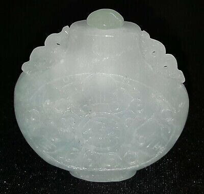 Chinese carved jade vintage Victorian oriental antique snuff bottle
