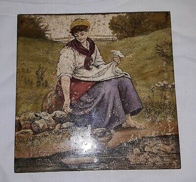 Minton vintage Arts & Crafts antique woman & ducklings tile / plaque