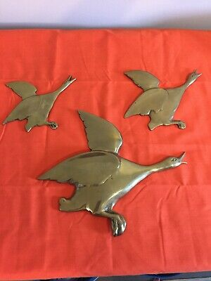 3 Vintage Brass Duck Wall hangings ducks in flight(made in korea)