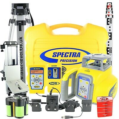 Rotary Laser Level Kit: Spectra HV302 + HR320 Detector, RC402N, Tripod & Staff