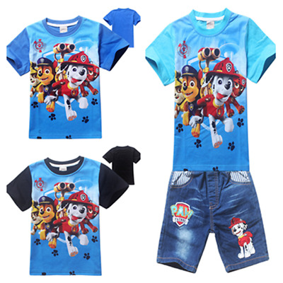 Hot Paw Patrol Cartoon Figure kids Casual T Shirt+Short Jeans Tops Pants Outfits