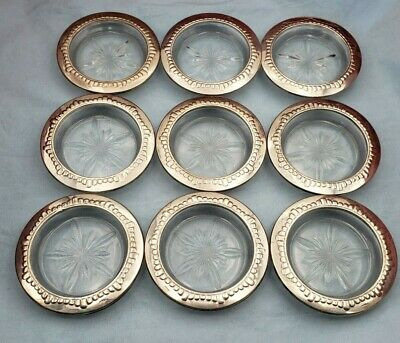 Vintage Group of Nine Sterling Silver and Crystal Coasters #6882