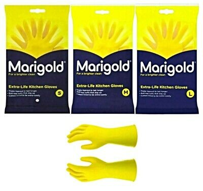 1 Pair Marigold Kitchen Gloves S / M / L Original Extra Life Household Cleaning