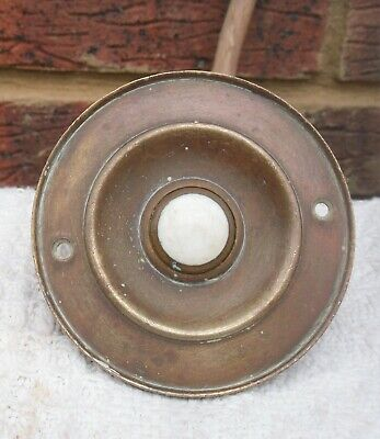 Original Antique Brass Push Button Door Bell Ceramic - Reclaimed