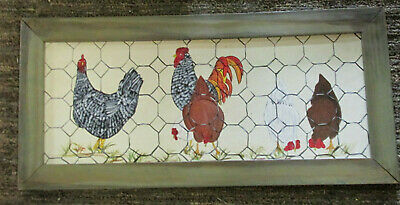 Vintage Hand Painted Wall Hanging Roosters 10 1/2 x 23