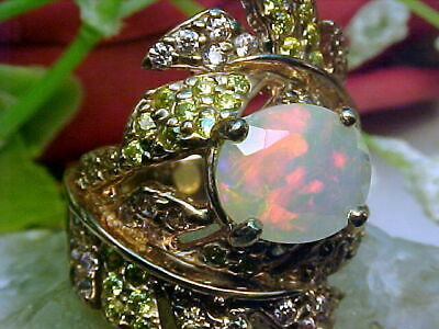 🔥 NATURAL ETHIOPIAN FACETED OPAL RING AAA++ 11x9mm & MULTI GEMS 925 SS/ROSE