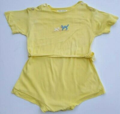Vintage NUDAY Creations Baby Yellow One Piece Outfit Playsuit Romper Cat 18 mo
