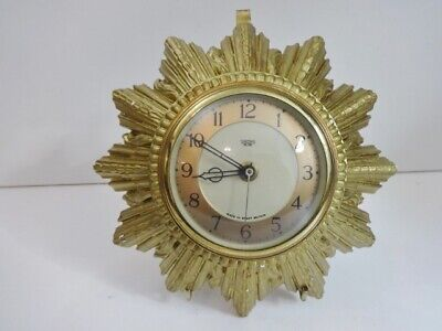 Vintage Smiths Sectric Gold sunburst clock (for spares and repairs)