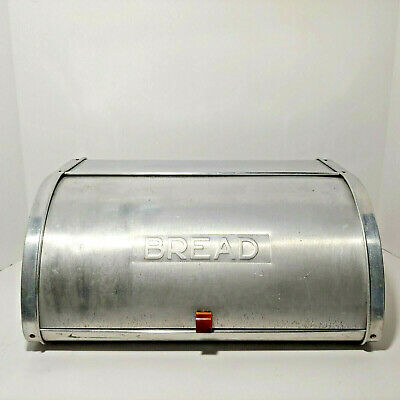"""Vintage Aluminum Roll Top Bread Box w/ Side Vents """"BREAD"""" Embossed Front Lid"""