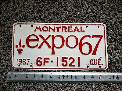 1967 Quebec License Plate Tag Number 6F 1521 Vintage Pq Qc Montreal Expo