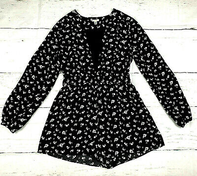 Ecote Urban Outfitters womens M black white floral long sleeve deep vneck romper