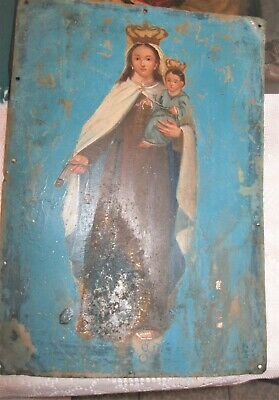 1800'S Original Retablo On Tin With The Image Of Our Lady Del Carmen 10'' By 14'
