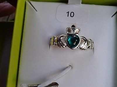 New AMETHYST DUBLIN Celtic silver plated Claddagh ring green stone size 10