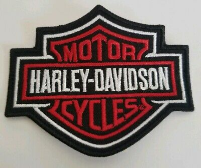 """Harley Davidson Motorcycles Small Patch Bar Shield Red and Black 3.5""""x2.75"""""""