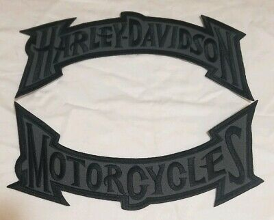 "Harley Davidson Motorcycles Large Black/Grey Rocker Patch 11"" ""Ships From Usa"