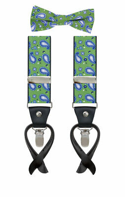 Lindenmann Mens Green/Blue Paisley Braces with Leather Ends and Bow Tie Set