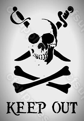 MYLAR STENCIL Skull & crossbones KEEP OUT Icon 125/190 micron A4/A3 *NEW*