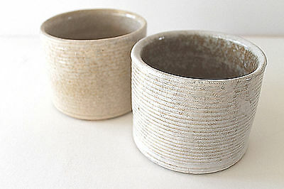 "Mid Century 60's Zansville Pottery Pair ""Stoneage Modern"" Line Ceramic Pots"