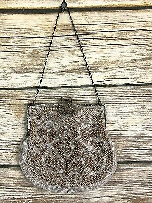 Belgium Beaded Antique Vintage Purse With Ornate Beaded Clasp Taupe & White