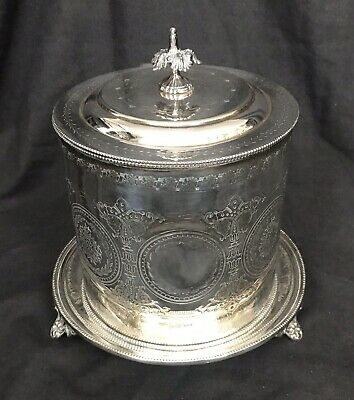 Antique Edwardian Silver Plate Footed Biscuit Box, Cracker Barrel, Hinged Lid