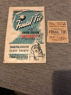 1946 Fa Cup Final Programme Derby V Charlton + Match Ticket..rare & Collectible