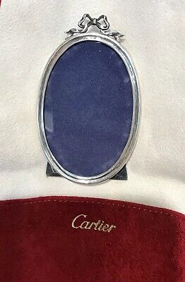 VINTAGE CARTIER OVAL STERLING SILVER Picture Frame in Cartier Pouch