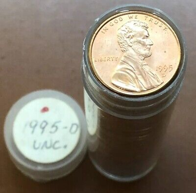 1995-D Lincoln Memorial Cent Roll BU Original Red 50 Coins - Combine Ship Avail