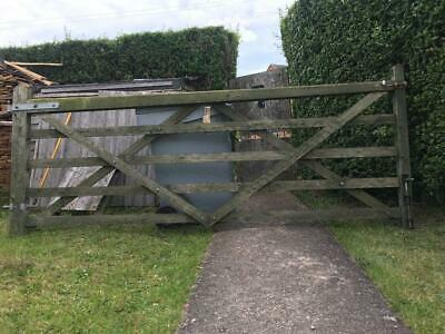 Wooden 5 Bar Curved Horn Farm Driveway Gate 12ft 4ft 1330