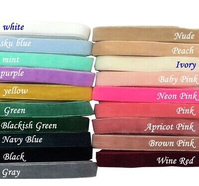 "3/8"" 10mm velvet FOE Hair Fold Over Elastics ribbon velour Headband"