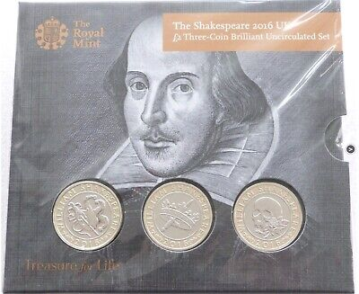 2016 William Shakespeare 400th Anniversary £2 Two Pound 3 Coin Set Pack Sealed
