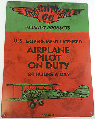 Phillips 66 Aviation Products Airplane Pilot On Duty Heavy Duty Metal Adv Sign