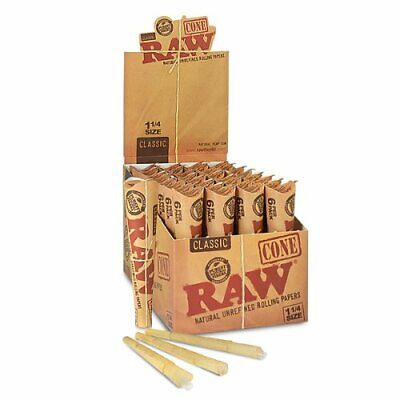 RAW Classic Pre-Rolled Cones Rolling Papers Box 32 Packs 192 Cone - 1 1/4