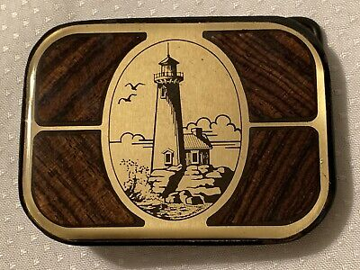Vintage Harmony Metal Brass Wood Inlay Belt Buckle Lighthouse