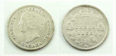 1890 H Canada 5 Cents Silver Coin - Queen Victoria - VG to F Condition