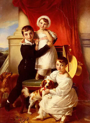Oil painting sir john watson gordon - the stanley children with pets dogs canvas