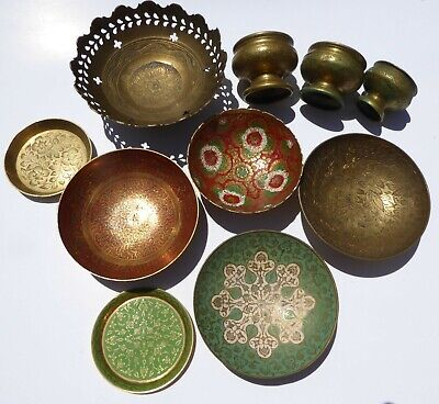 Vintage Brass Bowls Embossed Enameled Etched - Lot of 10 AWESOME brass ware