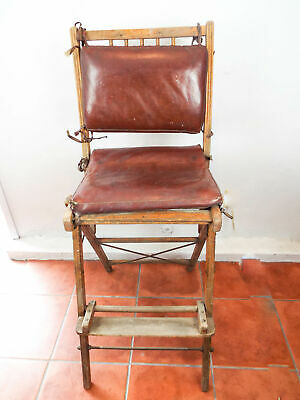 Antique Oak Wooden Slat Directors Chair Collapsible High Chair Hollywood Decor