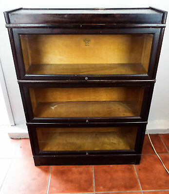 Antique Oak Barrister Lawyers Cabinet Maceys 911 3 Sectional Stacking Bookcase